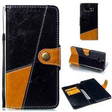Retro Magnetic Stitching Wallet Flip Cover for Samsung Galaxy Note 8 - Black