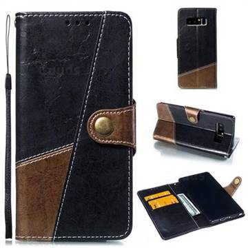 Retro Magnetic Stitching Wallet Flip Cover for Samsung Galaxy Note 8 - Dark Gray