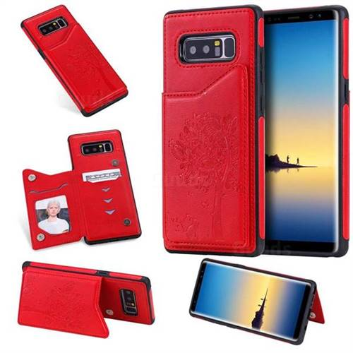 Luxury Tree and Cat Multifunction Magnetic Card Slots Stand Leather Phone Back Cover for Samsung Galaxy Note 8 - Red