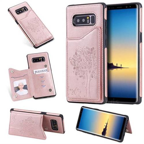 Luxury Tree and Cat Multifunction Magnetic Card Slots Stand Leather Phone Back Cover for Samsung Galaxy Note 8 - Rose Gold