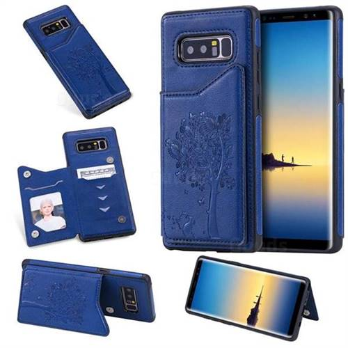 Luxury Tree and Cat Multifunction Magnetic Card Slots Stand Leather Phone Back Cover for Samsung Galaxy Note 8 - Blue