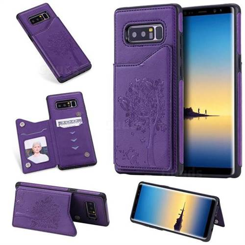 Luxury Tree and Cat Multifunction Magnetic Card Slots Stand Leather Phone Back Cover for Samsung Galaxy Note 8 - Purple