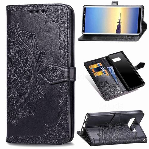 Embossing Imprint Mandala Flower Leather Wallet Case for Samsung Galaxy Note 8 - Black