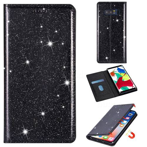 Ultra Slim Glitter Powder Magnetic Automatic Suction Leather Wallet Case for Samsung Galaxy Note 8 - Black