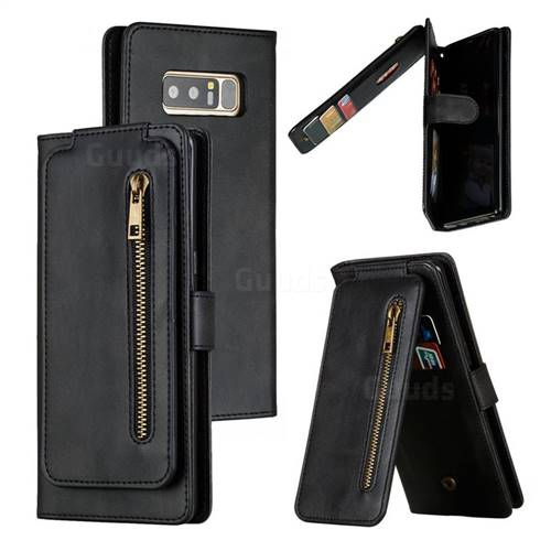 Multifunction 9 Cards Leather Zipper Wallet Phone Case for Samsung Galaxy Note 8 - Black