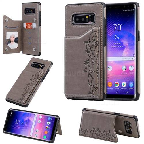 Yikatu Luxury Cute Cats Multifunction Magnetic Card Slots Stand Leather Back Cover for Samsung Galaxy Note 8 - Gray