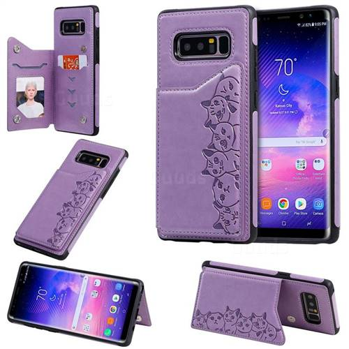 Yikatu Luxury Cute Cats Multifunction Magnetic Card Slots Stand Leather Back Cover for Samsung Galaxy Note 8 - Purple