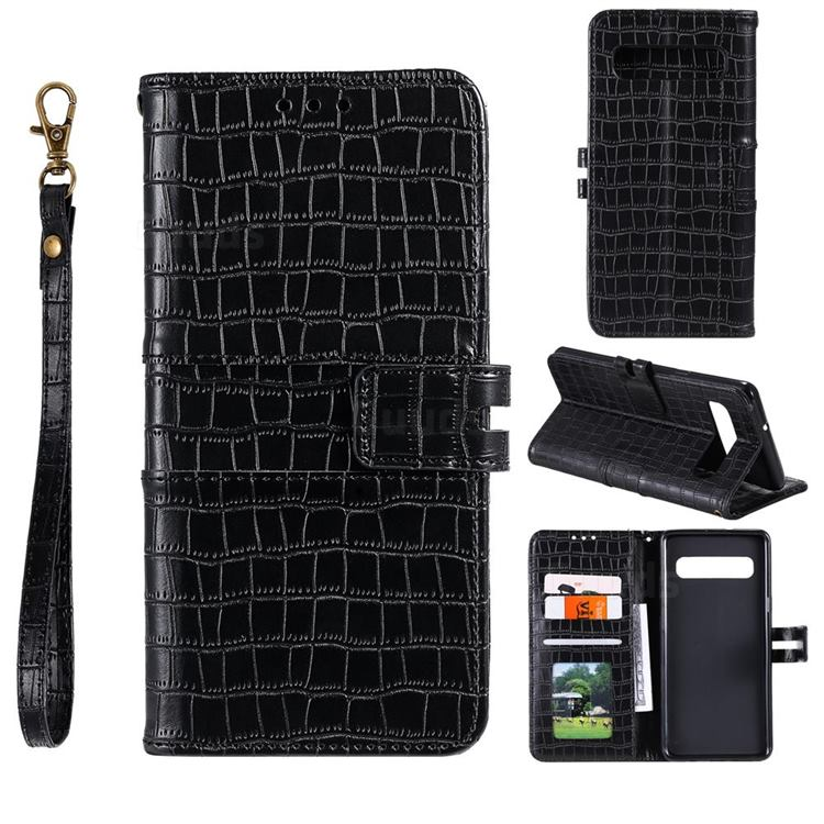 Luxury Crocodile Magnetic Leather Wallet Phone Case for Samsung Galaxy Note 8 - Black