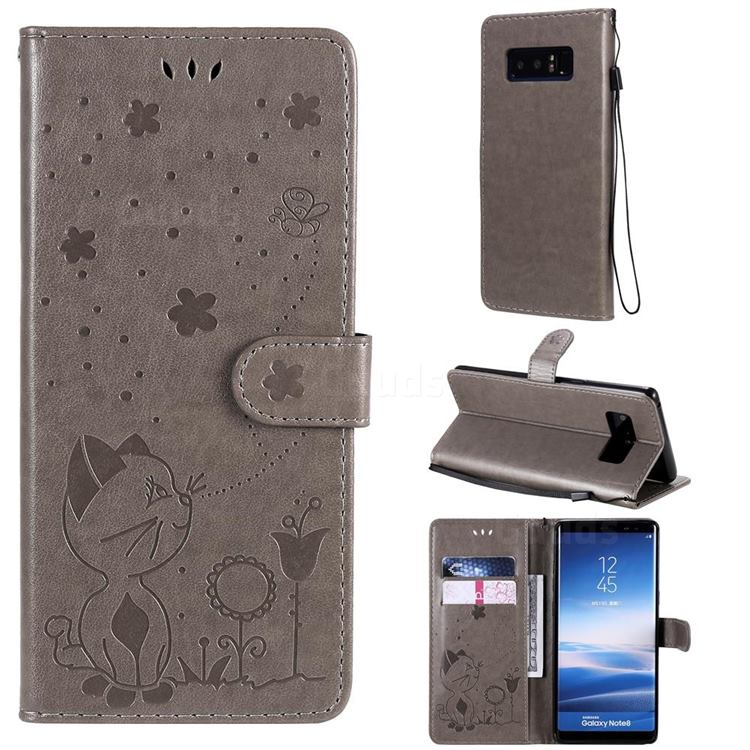Embossing Bee and Cat Leather Wallet Case for Samsung Galaxy Note 8 - Gray