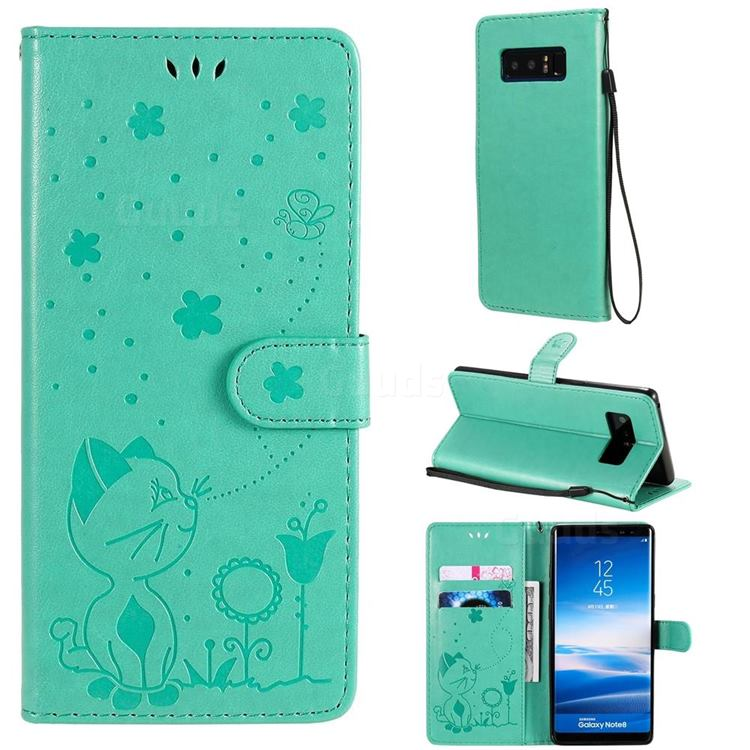 Embossing Bee and Cat Leather Wallet Case for Samsung Galaxy Note 8 - Green