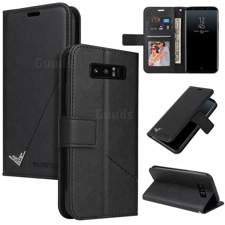 GQ.UTROBE Right Angle Silver Pendant Leather Wallet Phone Case for Samsung Galaxy Note 8 - Black
