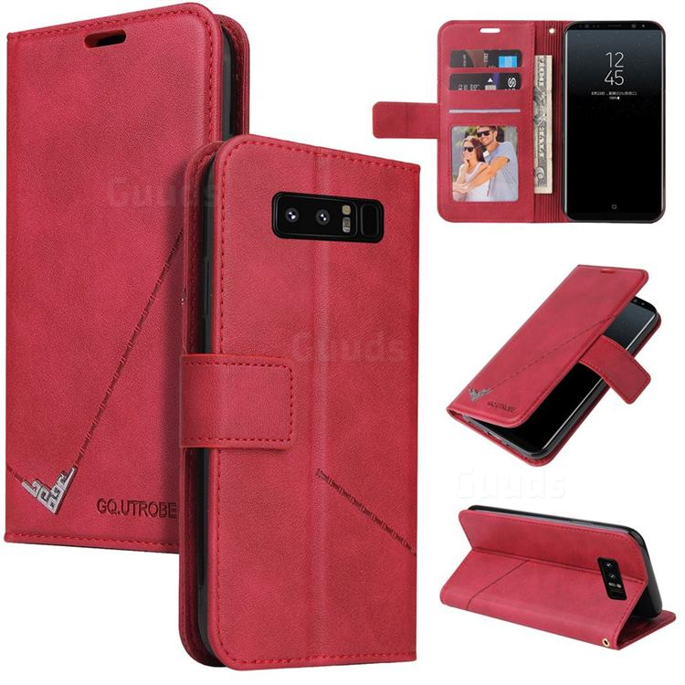 GQ.UTROBE Right Angle Silver Pendant Leather Wallet Phone Case for Samsung Galaxy Note 8 - Red
