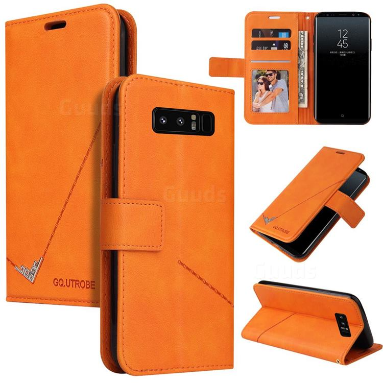 GQ.UTROBE Right Angle Silver Pendant Leather Wallet Phone Case for Samsung Galaxy Note 8 - Orange
