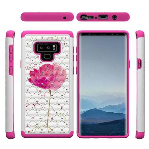 Watercolor Studded Rhinestone Bling Diamond Shock Absorbing Hybrid Defender Rugged Phone Case Cover For Samsung Galaxy