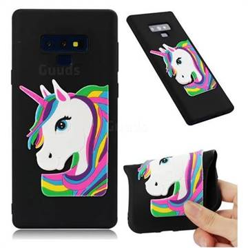 Rainbow Unicorn Soft 3D Silicone Case for Samsung Galaxy Note9 - Black