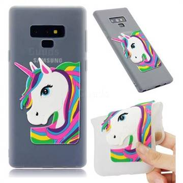 Rainbow Unicorn Soft 3D Silicone Case for Samsung Galaxy Note9 - Translucent White