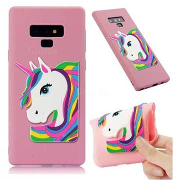 Rainbow Unicorn Soft 3D Silicone Case for Samsung Galaxy Note9 - Pink