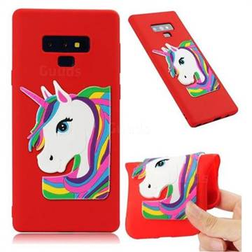 Rainbow Unicorn Soft 3D Silicone Case for Samsung Galaxy Note9 - Red