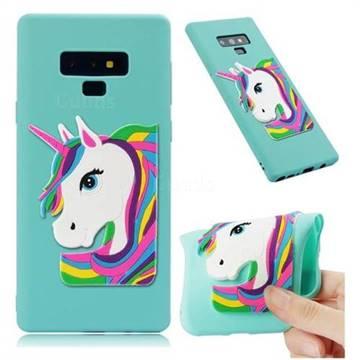 Rainbow Unicorn Soft 3D Silicone Case for Samsung Galaxy Note9 - Sky Blue