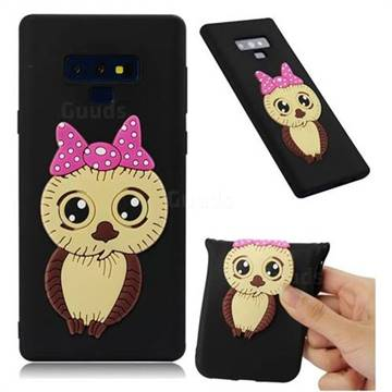 Bowknot Girl Owl Soft 3D Silicone Case for Samsung Galaxy Note9 - Black