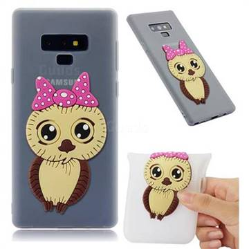 Bowknot Girl Owl Soft 3D Silicone Case for Samsung Galaxy Note9 - Translucent White