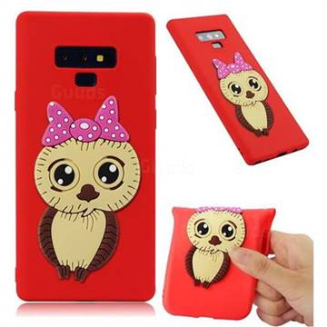 Bowknot Girl Owl Soft 3D Silicone Case for Samsung Galaxy Note9 - Red