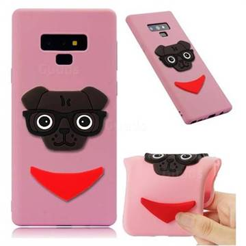 Glasses Dog Soft 3D Silicone Case for Samsung Galaxy Note9 - Pink