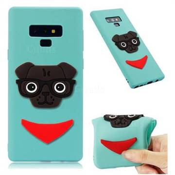 Glasses Dog Soft 3D Silicone Case for Samsung Galaxy Note9 - Sky Blue