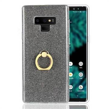 Luxury Soft TPU Glitter Back Ring Cover with 360 Rotate Finger Holder Buckle for Samsung Galaxy Note9 - Black