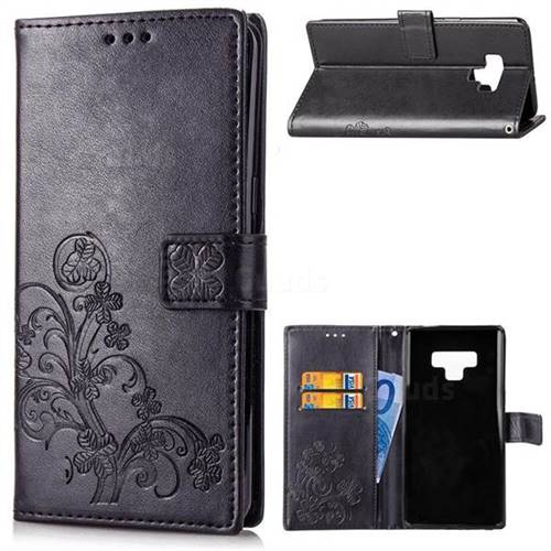 Embossing Imprint Four-Leaf Clover Leather Wallet Case for Samsung Galaxy Note9 - Black