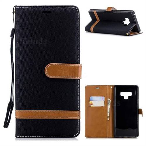 Jeans Cowboy Denim Leather Wallet Case for Samsung Galaxy Note9 - Black
