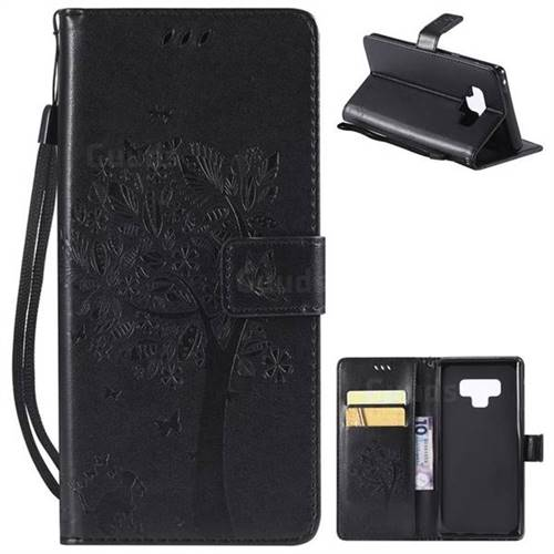 Embossing Butterfly Tree Leather Wallet Case for Samsung Galaxy Note9 - Black