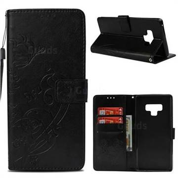 Embossing Butterfly Flower Leather Wallet Case for Samsung Galaxy Note9 - Black