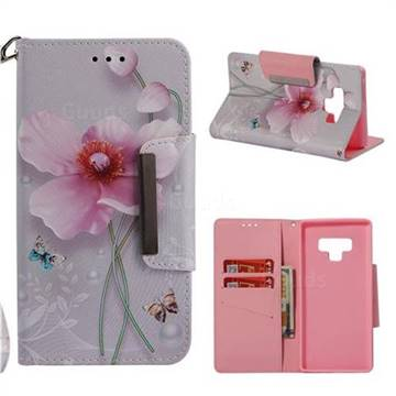 Pearl Flower Big Metal Buckle PU Leather Wallet Phone Case for Samsung Galaxy Note9