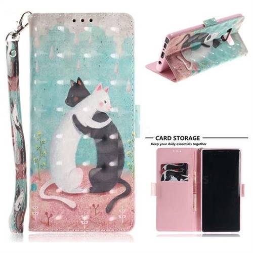 Black and White Cat 3D Painted Leather Wallet Phone Case for Samsung Galaxy Note9