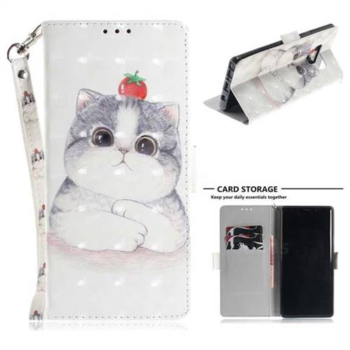 Cute Tomato Cat 3D Painted Leather Wallet Phone Case for Samsung Galaxy Note9