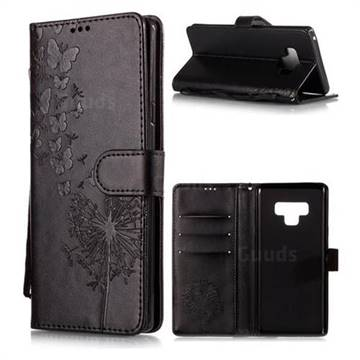 Intricate Embossing Dandelion Butterfly Leather Wallet Case for Samsung Galaxy Note9 - Black