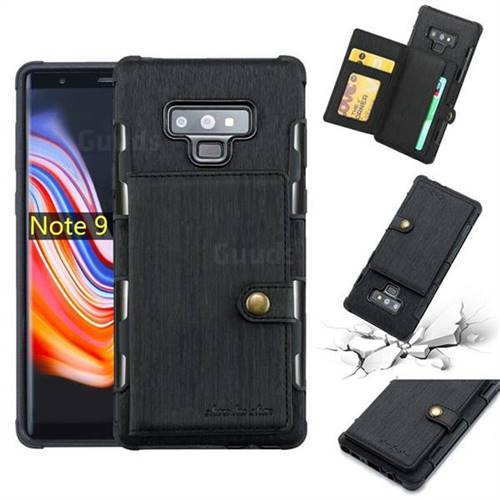 Brush Multi-function Leather Phone Case for Samsung Galaxy Note9 - Black