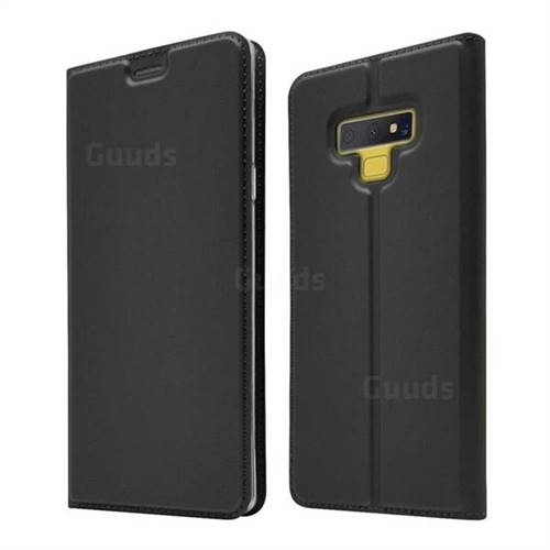 Ultra Slim Card Magnetic Automatic Suction Leather Wallet Case for Samsung Galaxy Note9 - Star Grey