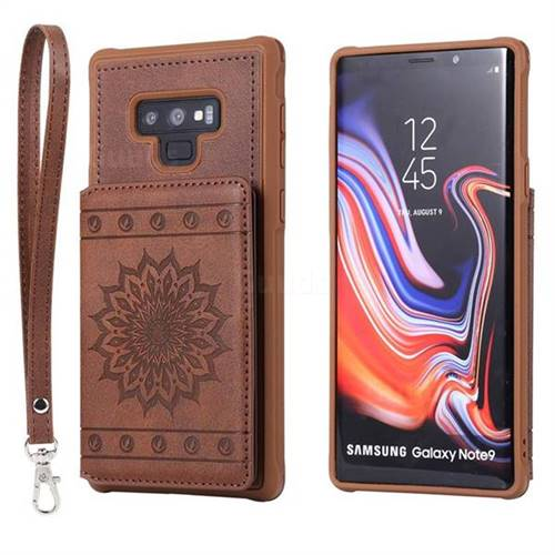 Luxury Embossing Sunflower Multifunction Leather Back Cover for Samsung Galaxy Note9 - Coffee