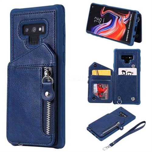 Classic Luxury Buckle Zipper Anti-fall Leather Phone Back Cover for Samsung Galaxy Note9 - Blue