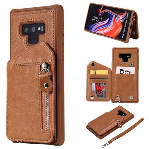 Classic Luxury Buckle Zipper Anti-fall Leather Phone Back Cover for Samsung Galaxy Note9 - Brown