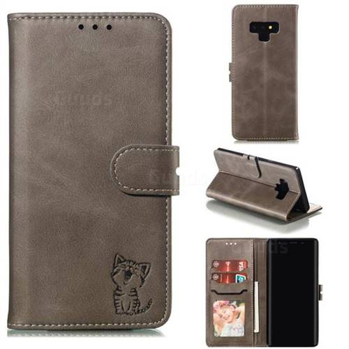 Embossing Happy Cat Leather Wallet Case for Samsung Galaxy Note9 - Gray