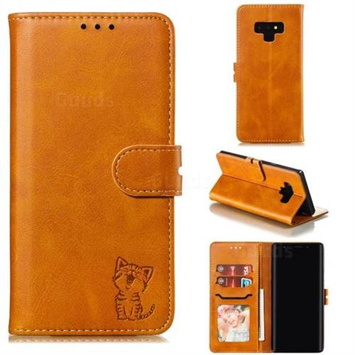 Embossing Happy Cat Leather Wallet Case for Samsung Galaxy Note9 - Yellow