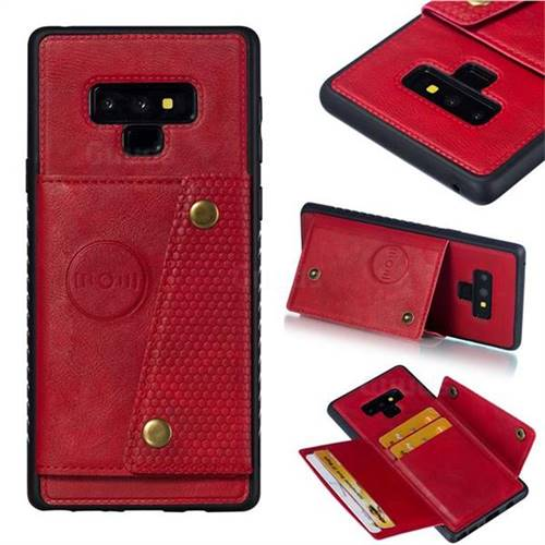 Retro Multifunction Card Slots Stand Leather Coated Phone Back Cover for Samsung Galaxy Note9 - Red