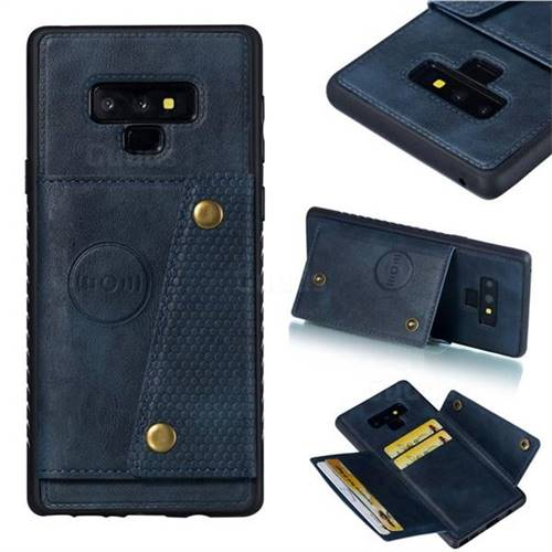 Retro Multifunction Card Slots Stand Leather Coated Phone Back Cover for Samsung Galaxy Note9 - Blue