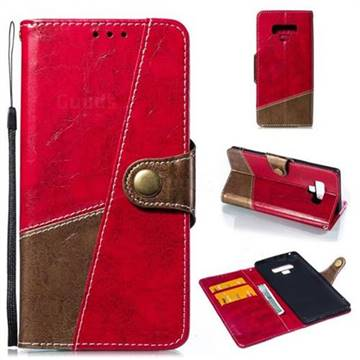 Retro Magnetic Stitching Wallet Flip Cover for Samsung Galaxy Note9 - Rose Red