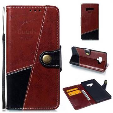 Retro Magnetic Stitching Wallet Flip Cover for Samsung Galaxy Note9 - Dark Red