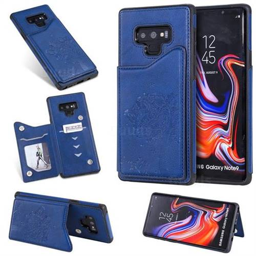 Luxury Tree and Cat Multifunction Magnetic Card Slots Stand Leather Phone Back Cover for Samsung Galaxy Note9 - Blue