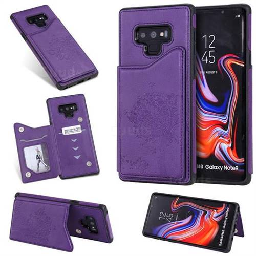 Luxury Tree and Cat Multifunction Magnetic Card Slots Stand Leather Phone Back Cover for Samsung Galaxy Note9 - Purple